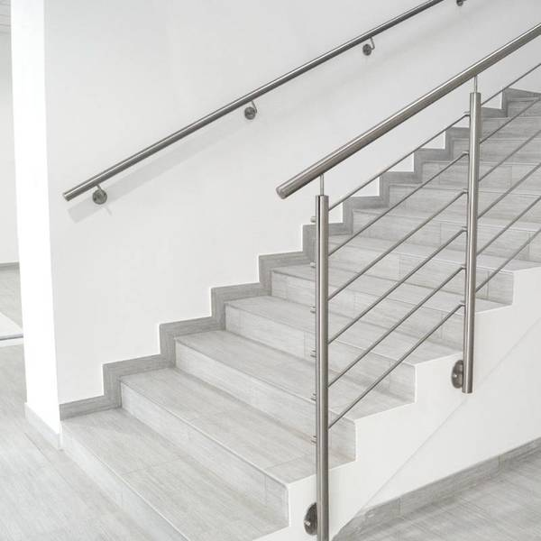 HENGMEI 100cm Main Courante en inox avec 2 fixations en acier inoxydable pour Escaliers motif bois somber
